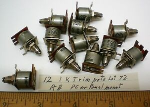 12 Potentiometers 1k Ohms Military Type G Allen Bradley Lot 72 Made In Usa