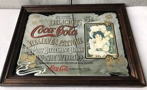 "VINTAGE ""Coca-Cola"" Wood Framed Mirror Sign ~ Relieves Fatigue: 5 Cents ~ 13"