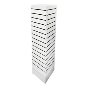 12 X 12 X 54 White Rotating 4 Sided Revolving Slatwall Floor Display