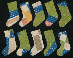 10 Primitive Antique Cutter Quilt Stockings Awesome Scrapbooking Green Blue