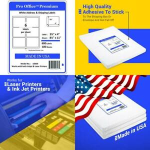 Pro Office Premium 600 Self Adhesive Shipping Labels For Laser Printers And Ink