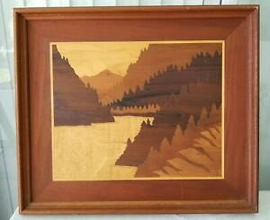 Inlaid Wood Picture Marquetry Art Mountains Nature Outdoors Vintage Large