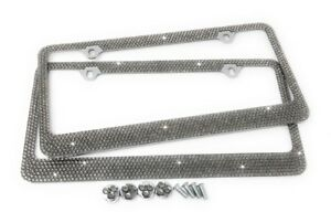 2 Pcs 7 Rows Gray Color Bling Crystal License Plate Frame Free Caps