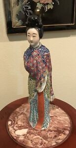 Antique Vintage Chinese Famille Rose Lady Figurine Statues Porcelain China