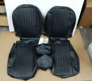 New Front Seat Covers Seat Upholstery Mgb 1977 80 Black Vinyl Headrest Covers