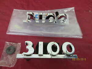 1950 52 Chevy Truck 3100 Hood Side Block Numbered Emblems 2 And Hardware