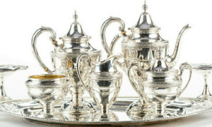 Wallace Sterling Silver Tea Set Rose Point W Large Tray 1930s Mint No Mono
