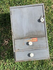 Antique Vtg Drawers Wooden Apothecary Chest Storage Tool Cabinet Primitive Parts