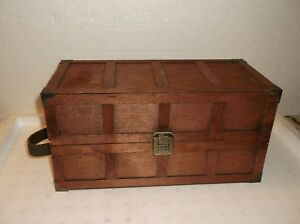 Vintage Wood Wardrobe Doll Trunk With Doll