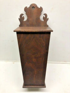 17 Georgian Style Mahogany Wood Wall Hanging Carved Candle Box Or Knife Box