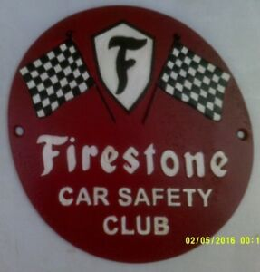 FIRESTONE Heavy Cast Metal SIGN Car Safety Club tyres chequered flag (po)