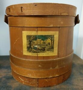 Antique Vintage Large Firkin Currier And Ives Country Sugar Pail Bucket Lot C
