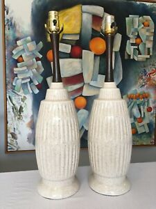 Danish Modern Mid Century Speckled Cream Ceramic And Wood Table Lamps