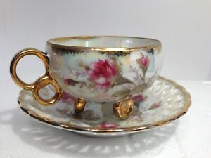Vintage Royal Sealy China Luster Ware Tea Cup 2 H Reticulated Saucer 5
