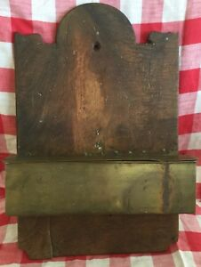 Antique Primitive Folk Art Farmhouse Wood Hanging Candle Brass Box Wall Holder
