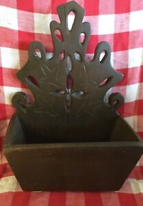 Antique Primitive Folk Art Farmhouse Wood Carved Hanging Candle Box Wall Holder