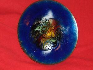 Abstract Mid Century Modern Dish Copper Enamel Cloisonne