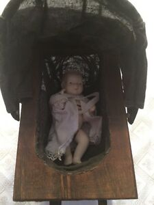 Vintage Baby Carriage Doll 10x5x11 Wicker Wood Metal Canvas Prop
