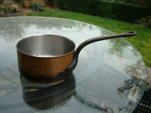 Vintage Heavy Copper Re Tinned Large Saucepan Cooking Pot Jardiniere Planter
