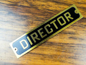 Vintage Brass Black Small Industrial Sign Metal Wall Plaque Director