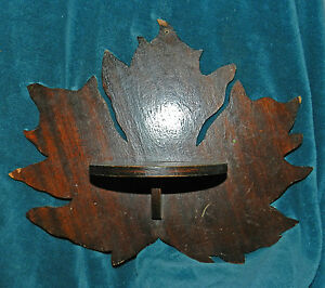 Nice Antique Vintage Primitive Maple Leaf Wood Shelves Shelf Pair