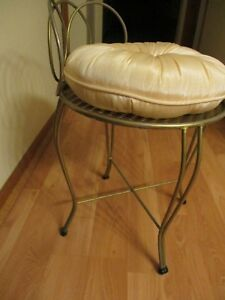 Vintage 1960 S Regency Parlor Vanity Makeup Bath Chair Stool Pillow Cushion