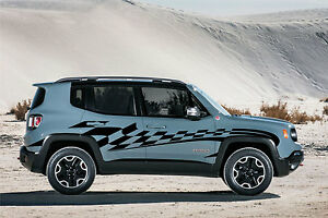Jeep Renegade Checkered Race Graphic Vinyl Decal Sticker Side Reflective Chrome