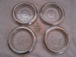 4 Vintage Glass And Silver Plated Coasters Starburst Pattern Leonard From Italy