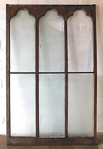 1800 S Wooden Gothic Top Church Window Frame Chip Glass Arch Top Large Ornate