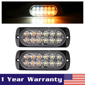2x White Amber Car 12 Led Emergency Strobe Light Bar Marker Flash Warning Lamp