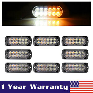 8x White amber Car 12 Led Emergency Strobe Light Bar Marker Flash Warning Lamp