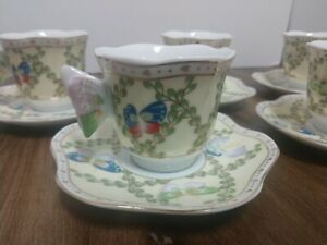 Cc T Porcelain Coffee Tea Set Butterfly Theme 10 Piece 5 Cups And 5 Saucers