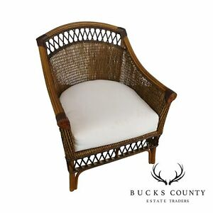 Wicker Rattan Bamboo Club Chair