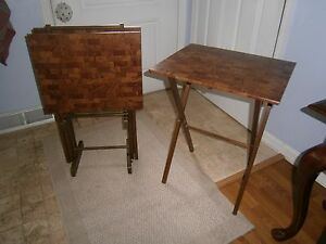 Tray Tables Tv Trays Set Of 4 W Stand Mid Century Wood Frame Parkay Look Tops
