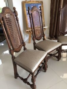 6 Vintage Century Furniture French Spanish Gothic Wood Cane Dining Side Chairs