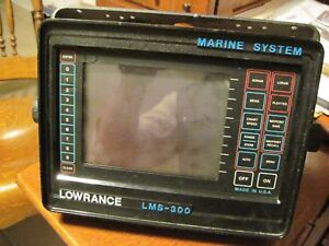 LOWRANCE LMS 300 Fish Finder GPS w/ Power Cable - for Parts or Repair