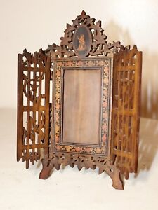 Antique Hand Carved Made Italian Walnut Satinwood Table Hinged Picture Frame