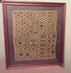 Antique 19th Century Handmade African Kuba Woven Straw Cloth Mat Rug Art Textile