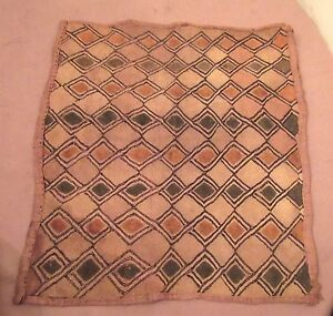 Antique 1800 S Handmade African Kuba Woven Straw Cloth Mat Rug Art Old Textile 1