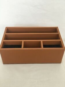 Levenger Brown Leather Morgan Unifier Desk Organizer Gc