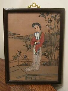 Vintage Original Female Figural Asian Chinese Acrylic Painting On Silk Framed