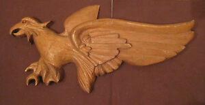 Antique Hand Carved Solid Wood Stylized Eagle Bird Wall Sculpture Plaque Details