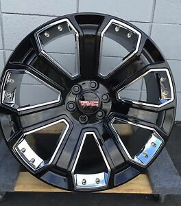 22 Gloss Black Chrome Inserts Gmc Oe Style Rims Wheel And Tire Package