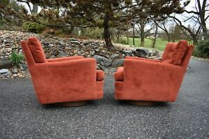 Vtg Mcm Forecast Rocking Swivel Lounge Chair Pair 50 S 60 S Baughman Style