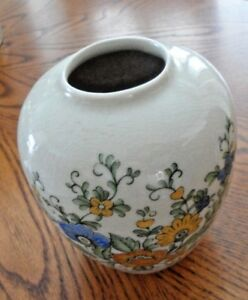 Asian Antique Crackle Glaze Vase Floral Design 5 X 4 5 Excellent Condition