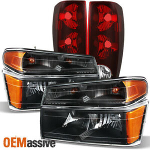 Fit 04 12 Chevy Colorado Gmc Canyon Black Headlights Tail Lights 2004 2012