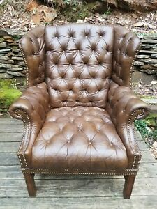 Rare Gorgeous Vintage Hancock Moore Leather Tufted Wingback Smoking