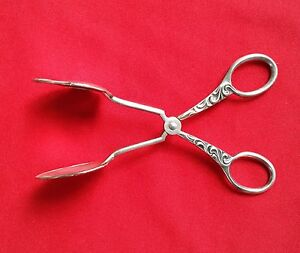 Antique German Silverplate Scissors Style Pastry Serving Tongs By Wmf