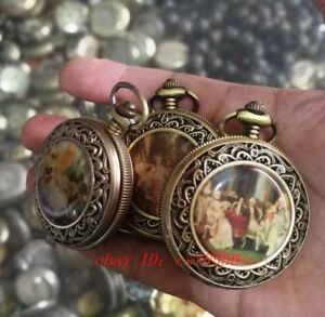1pc Bronze Pattern Mechanical Old Pocket Watch More Patterns Randomly Sent