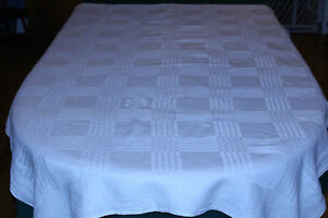 Vintage Jacquard Woven Homespun Linen 70 Tablecloth Wonderful Vintage Fabric
